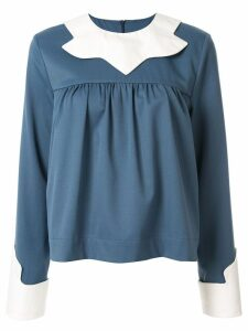 Mm6 Maison Margiela contrast bib blouse - Blue