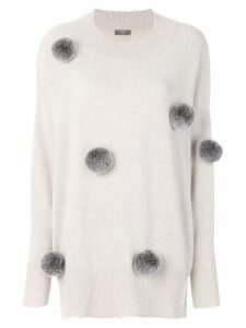 N.Peal long pom pom sweater - Neutrals