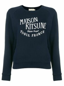 Maison Kitsuné logo embroidered sweatshirt - Blue