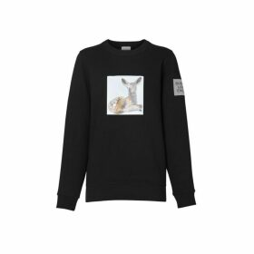 Burberry Deer Print Cotton Oversized Sweatshirt