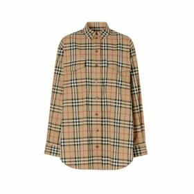 Burberry Vintage Check Stretch Cotton Oversized Shirt