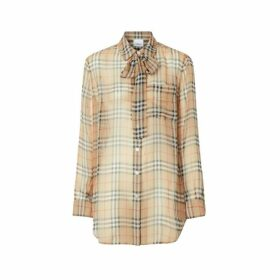 Burberry Vintage Check Silk Tie-neck Shirt