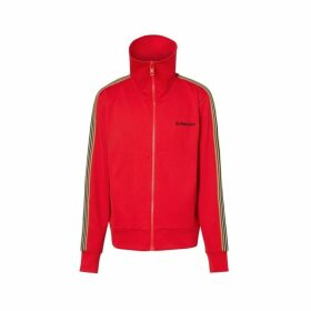 Burberry Icon Stripe Detail Funnel Neck Track Top