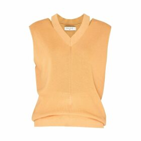 PAISIE - V-Neck Sleeveless Top With Cut Out Neck In Orange
