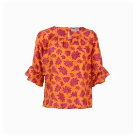 Asneh - Lizzy Silk Top In Burned Orange With Purple Baroque Floral Print