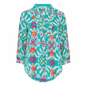 Libelula - Delphine Top Turquoise Geometric Print