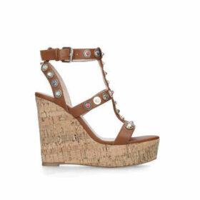Carvela Gladly - Tan Studded Cork Wedge Sandals