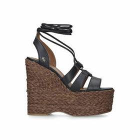 Kurt Geiger London Nova - Black Leather Lace Up Wedge Sandals