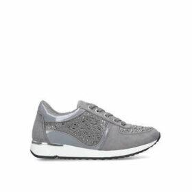 Carvela Jist - Grey Embellished Lace Up Trainers