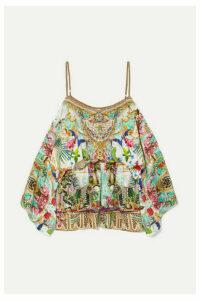 Camilla - Off-the-shoulder Embellished Silk Crepe De Chine Playsuit - Mint