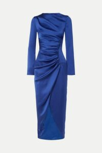 Rasario - Gathered Satin Midi Dress - Navy