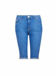Womens Tall Blue Denim Knee Shorts, Blue