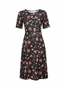 Womens Tall Black Floral Print Dress, Black