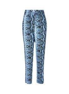 Womens Blue Coloured Snake Print Joggers, Blue