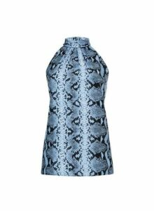 Womens Blue Snake Print Halter Neck Top, Blue