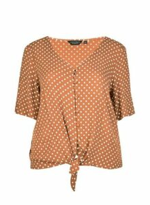 Womens **Dp Curve Ginger Spot Tie Up Shirt, Ginger