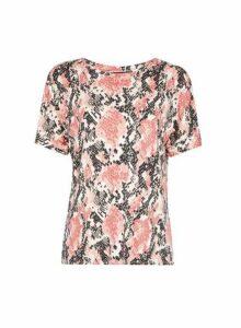 Womens Pink Snake Print Pocket Utility T-Shirt, Pink
