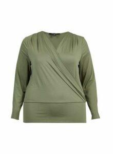 Womens **Dp Curve Khaki Wrap Top, Khaki