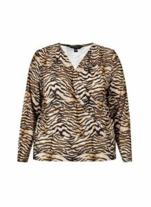 Womens **Dp Curve Zebra Print Jersey Wrap Top - Black, Black