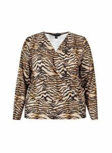 Womens **Dp Curve Zebra Print Jersey Wrap Top- Black, Black