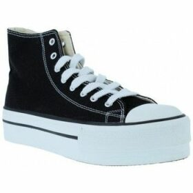 Victoria  061101 Tribu Doble Botín Lona de Mujeres  women's Shoes (High-top Trainers) in Black