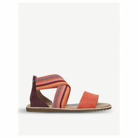 Ella striped-strap leather and textile sandals