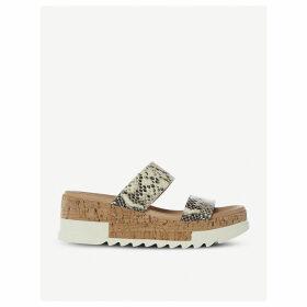 Blaine snakeskin-embossed leather sandals