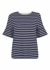 Gee Fluted Sleeve Top Navy Ivory