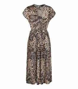 Brown Animal Print Pleated Midi Dress New Look
