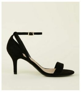 Wide Fit Black Suedette 2 Part Heeled Sandals New Look Vegan