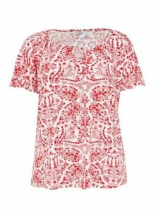 Red Floral Print Gypsy Top, Red