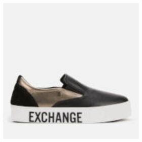 Armani Exchange Women's Leather/Mirror Patent Slip-On Trainers - Black/Gun Metal/Black - UK 6 - Black