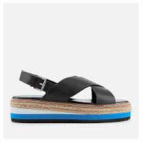 Dune Women's Karli Leather Flatform Sandals - Black - UK 6