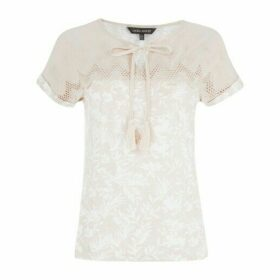 Natural Embroidered Yoke Top