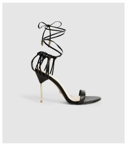 Reiss Zhane - Leather Strappy Wrap Sandals in Black, Womens, Size 8