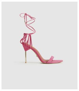 Reiss Zhane - Suede Strappy Wrap Sandals in Pink, Womens, Size 8