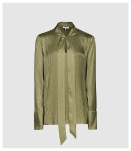 Reiss Adeline - Burnout Detail Blouse in Khaki, Womens, Size 14
