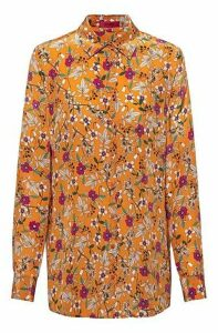 Floral-print regular-fit blouse with point collar