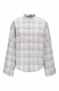 Oversized-fit check-print blouse in linen with cotton