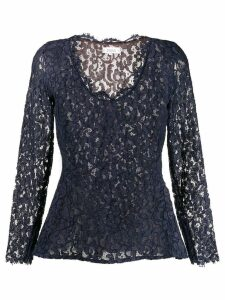 Yves Saint Laurent Pre-Owned 1990's lace peplum top - Blue