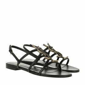 Saint Laurent Sandals - Cassandra Sandals Bamboo Logo  Noir - black - Sandals for ladies