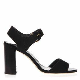 Tods Black Suede Sandals