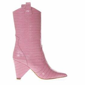 Aldo Castagna Boot In Pink Cocodrile Effect Leather