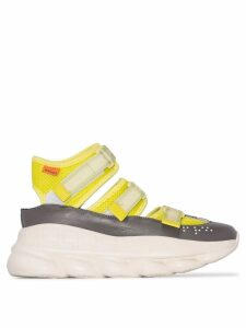 Versace Lime green Chain Reaction high-top leather trim sneakers