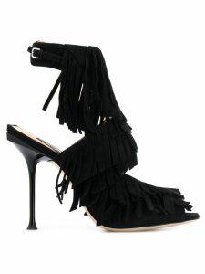 Sergio Rossi open-toe fringed sandals - Black