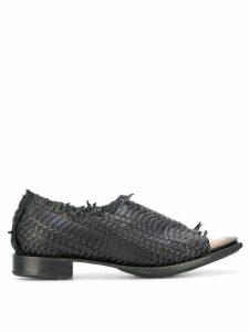 Yohji Yamamoto open toe woven loafers - Black