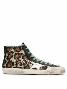 Golden Goose leopard print high top sneakers - NEUTRALS