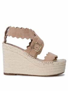 Chloé laser cut wedge sandals - Brown