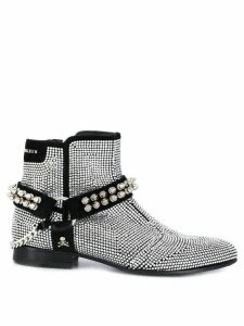Philipp Plein crystal embellished biker boots - Silver