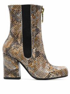 Roker Jacs 90 snakeskin print boots - Brown